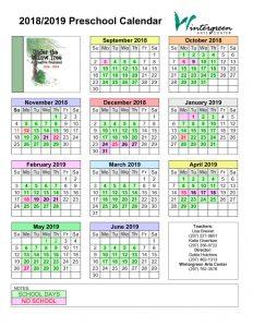 2018-2019 Preschool Calendar