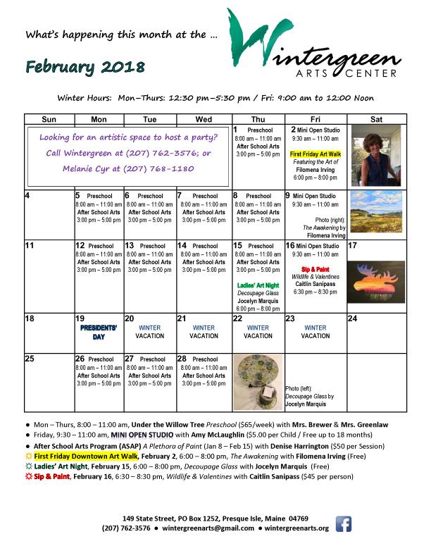 Monthly Calendar – Wintergreen Arts Center